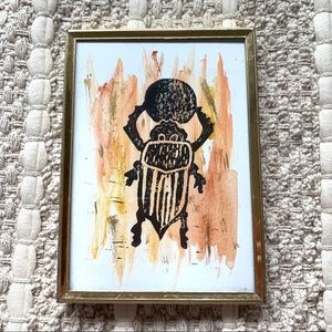 Scarab Lucky Beatle Print in Frame